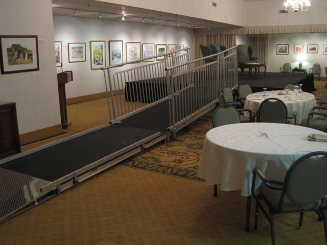 wheelchair ramp, stage and ramp, ada stage, ada accessible, wheelchair stage, small stage