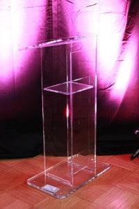 see thru, acrylic, plastic, lucite, podium, lectern, rental, philadelphia