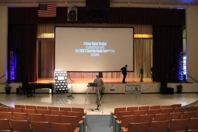 huge, screen, projection, mlk, high school, philadelphia, we could be king