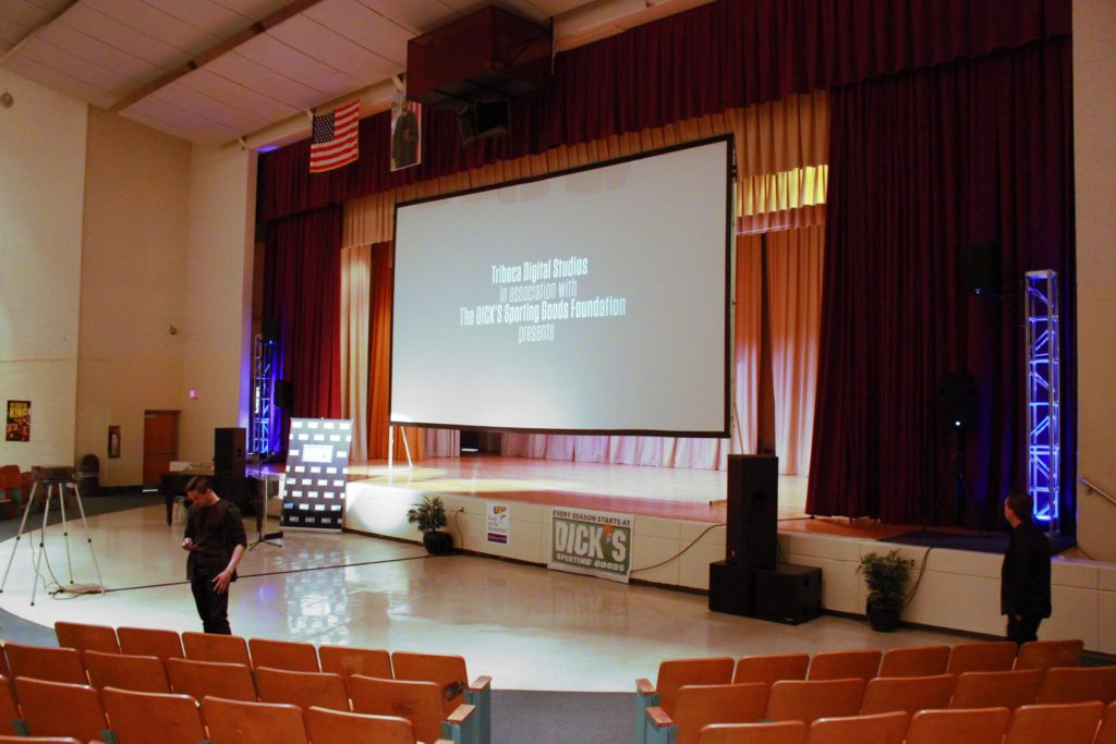 huge, screen, projection, mlk, high school, philadelphia, auditorium