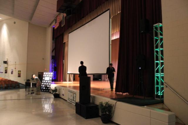 huge, screen, projection, mlk, high school, philadelphia